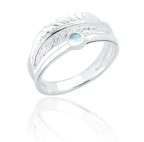 layered silver feather blue topaz ring