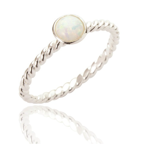twisted silver ring with white opal stone