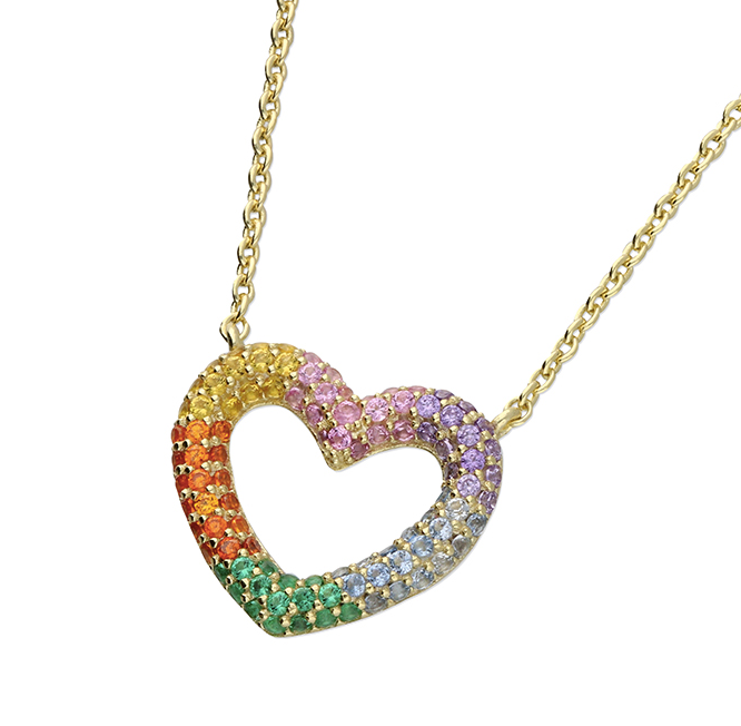 rainbow heart gold necklace