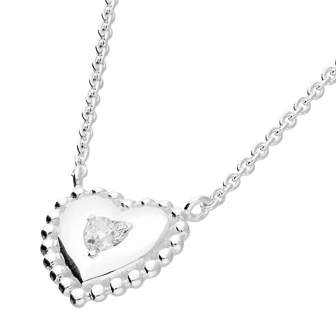 silver cz heart necklace with beaded edge