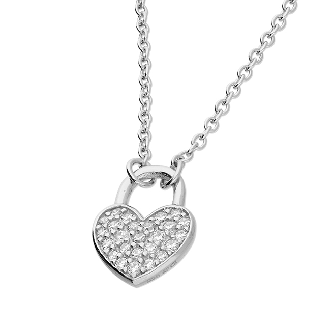 silver crystal set heart padlock necklace