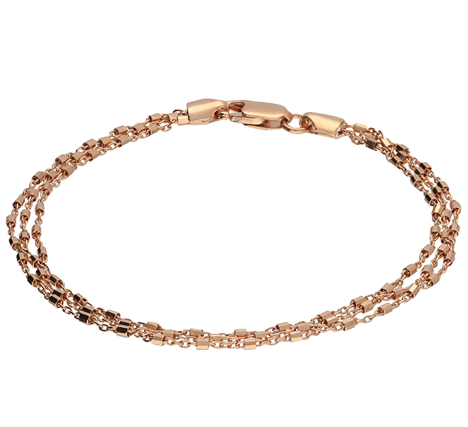 Rose gold layered chain bracelet