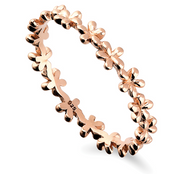 rose gold flowers stacking ring