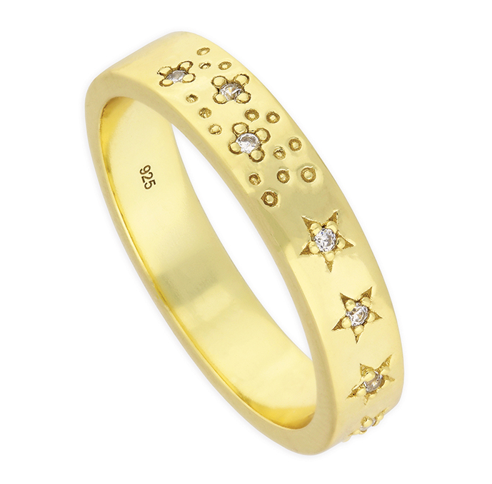 gold ring with engraved flowers & stars