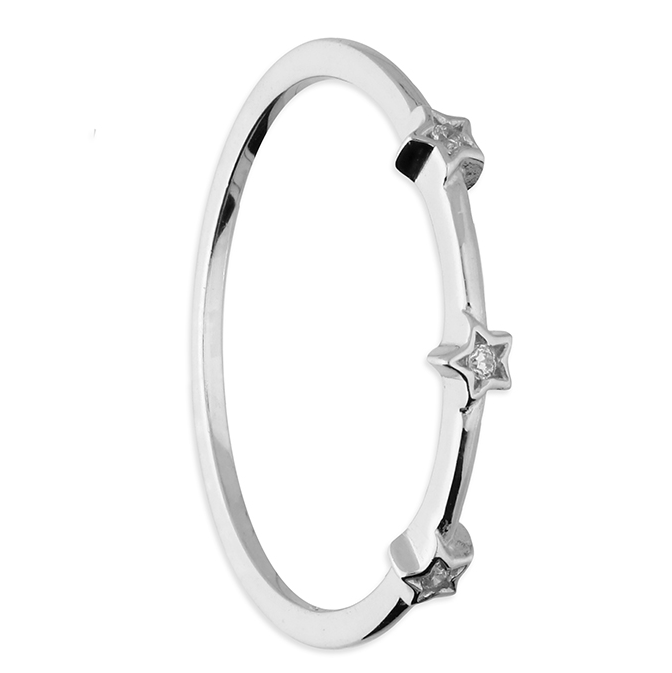 silver 3 cz stars stacking ring