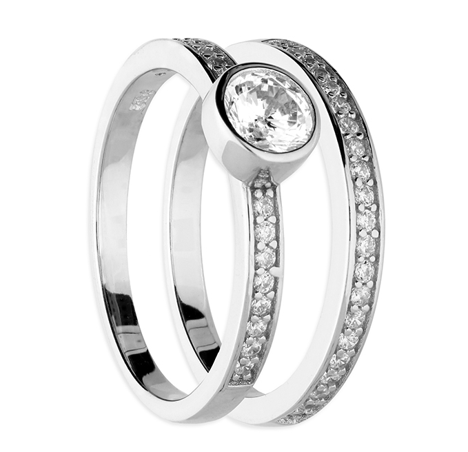 silver set of 2 solitaire & half eternity band rings