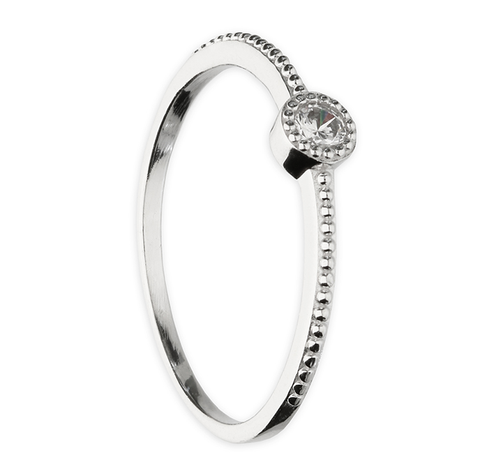 bobbled silver ring with solitaire cz stone