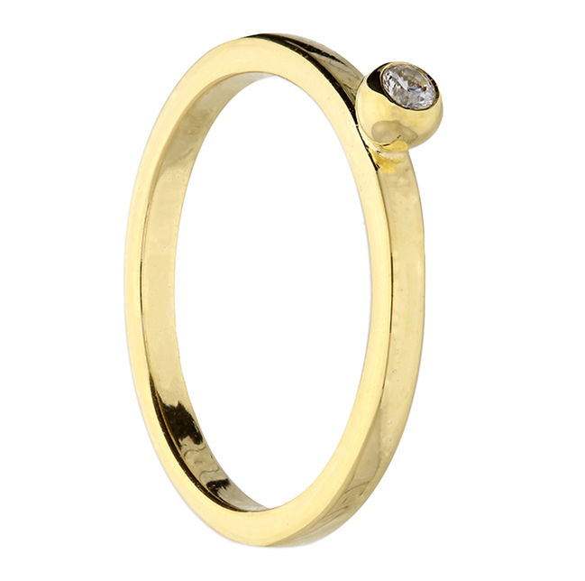gold stacking ring with cz stone