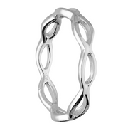 open wave silver stacking ring