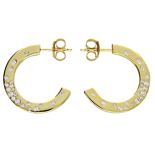 crystal gold hoop stud earrings