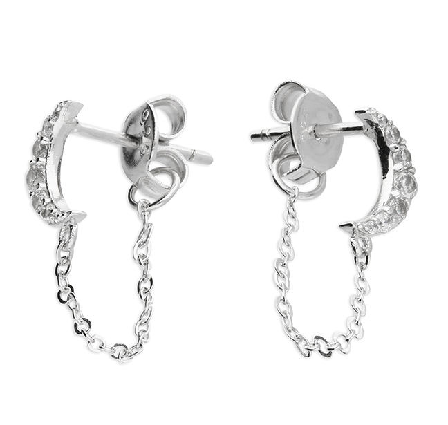 silver cz moon stud earrings with linked chain