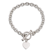silver chunky ladies bracelet with engravable heart