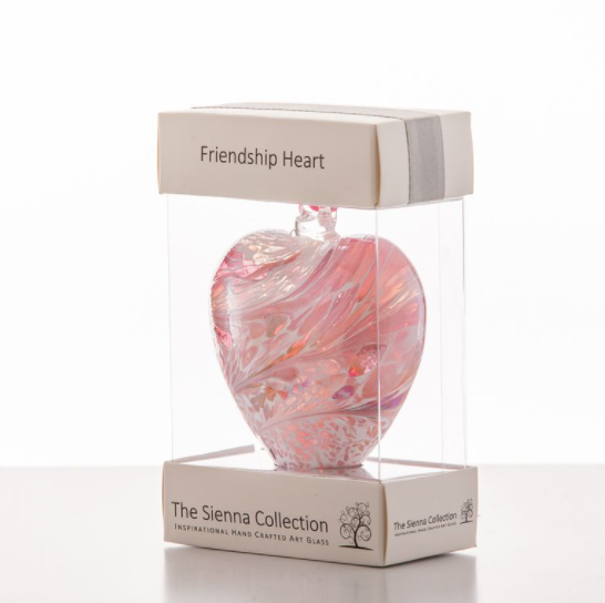 8cm Pastel Gold Friendship Glass Heart