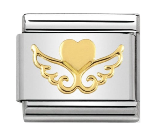 Nomination Gold Heart with Wings Charm