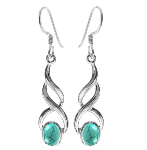 Turquoise Long Swirl Drop earrings