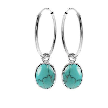 Oval Turquoise Sleeper Hoop Earrings