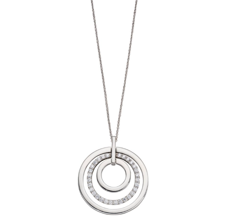 Fiorelli Triple CZ Circle Disc Long Pendant