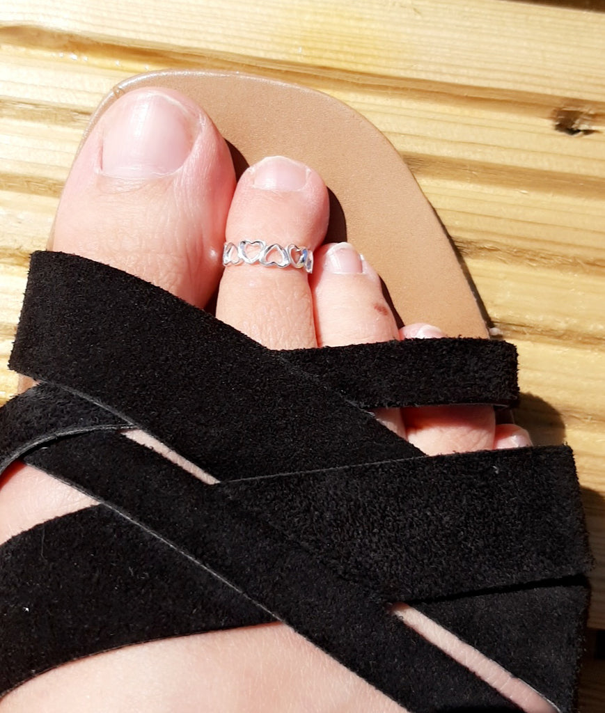 Silver Open Hearts Toe Ring