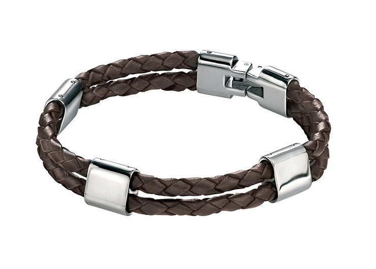 Gents Fred Bennett Leather And Stainless Steel Bracelet