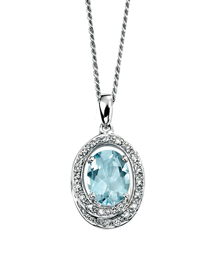 Aquamarine And Diamond 9ct White Gold Pendant