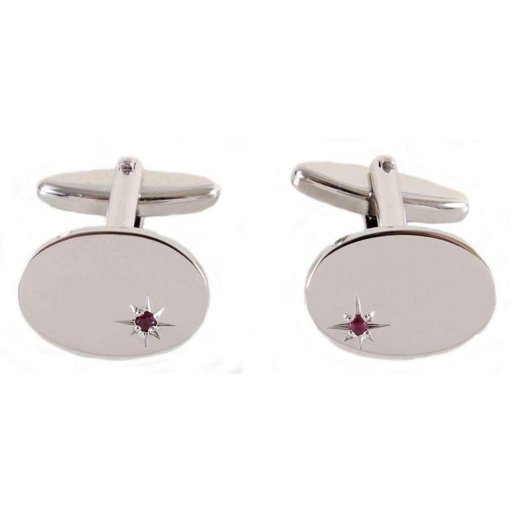 Silver plated Ruby cufflinks