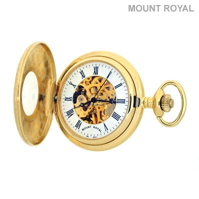 Gold Plated Half Hunter Skeleton Mechanical Pocket Watch Mount Royal - B6