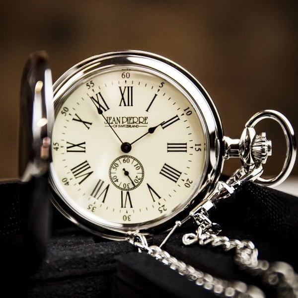 Peaky Blinder Style Chrome Plated Full Hunter Quartz Pocket Watch Mount Royal - D7