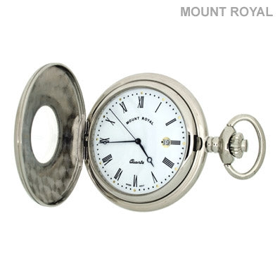 Peaky Blinder Style Chrome Plated Half Hunter Quartz Pocket Watch Mount Royal - B9