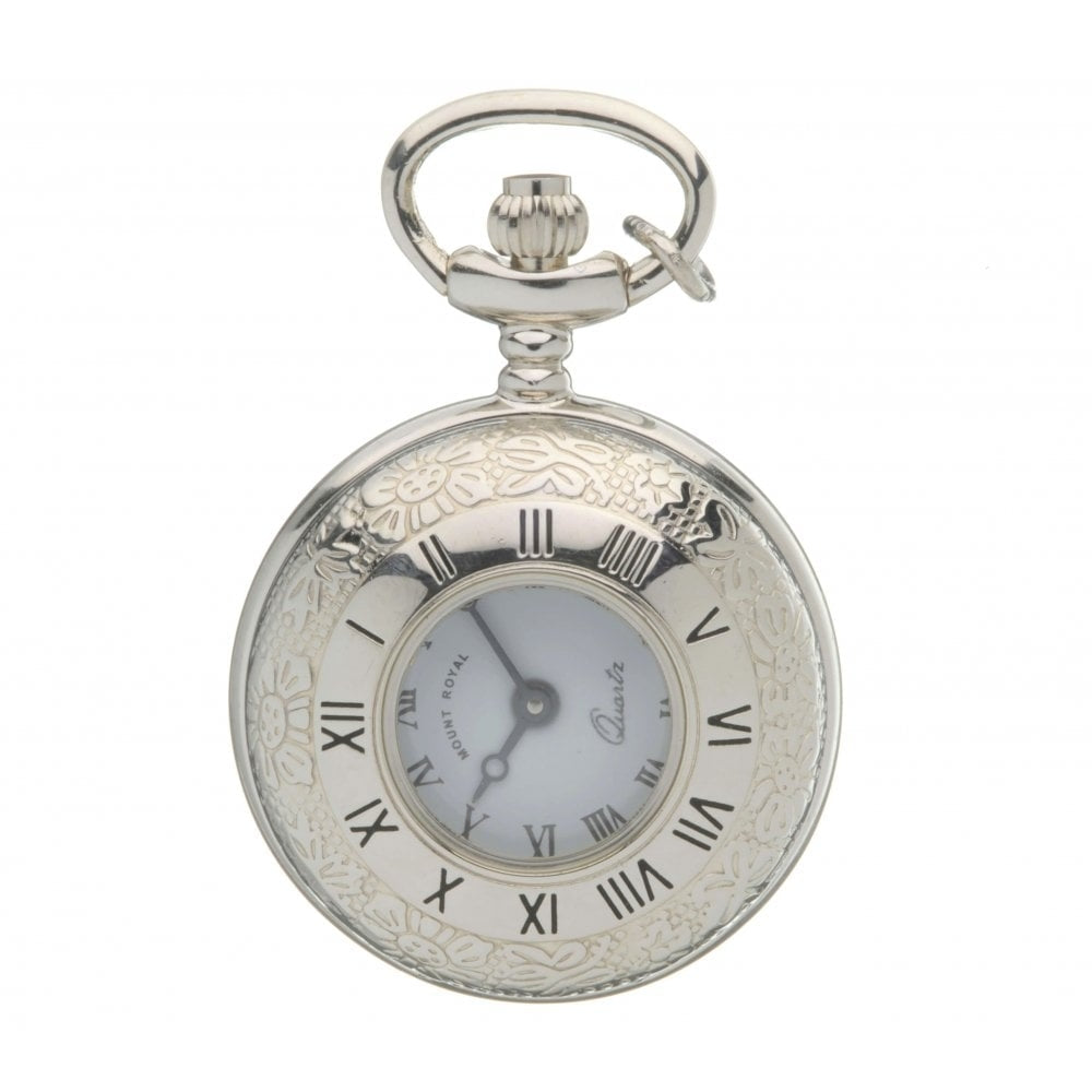 Peaky Blinder Style Chrome Plated Half Hunter Quartz Pocket Watch Mount Royal - B17C