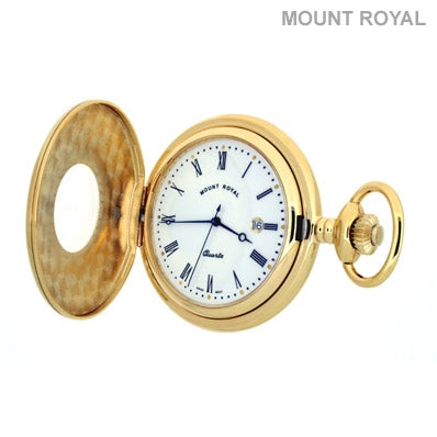 Peaky Blinder Style Gold Plated Half Hunter Quartz Pocket Watch Mount Royal - B8Q