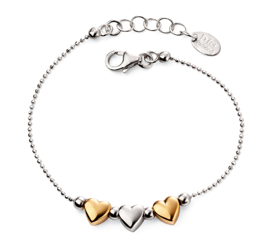 D For Diamond Triple Heart Bracelet