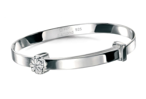D For Diamond Daisy Christening Bangle b4316