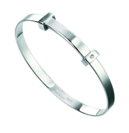 D For Diamond Christening Bangle b306