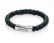 Fred Bennett Thick Black Leather Clasp Bracelet