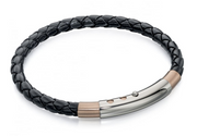 Fred Bennett Black Leather & Rose Gold Bracelet b4687