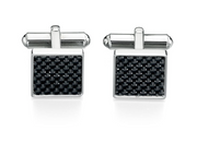 Fred Bennett Stainless Steel Black Carbon Fibre Cufflinks v421