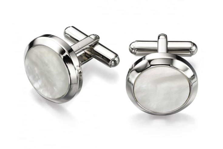 Fred Bennett Stainless Steel Round Circle White Mother Of Pearl Cufflinks v482