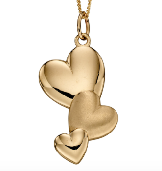 Elements Yellow Gold 3 Heart Textured Pendant