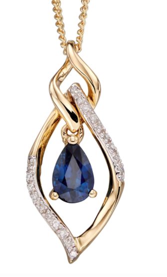 Elements Yellow Gold Sapphire & Diamond Marquise Pendant