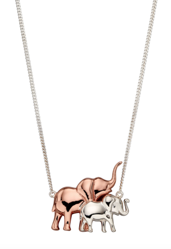 Elements Silver & Rose Gold Mum & Baby Elephant Necklace n4365