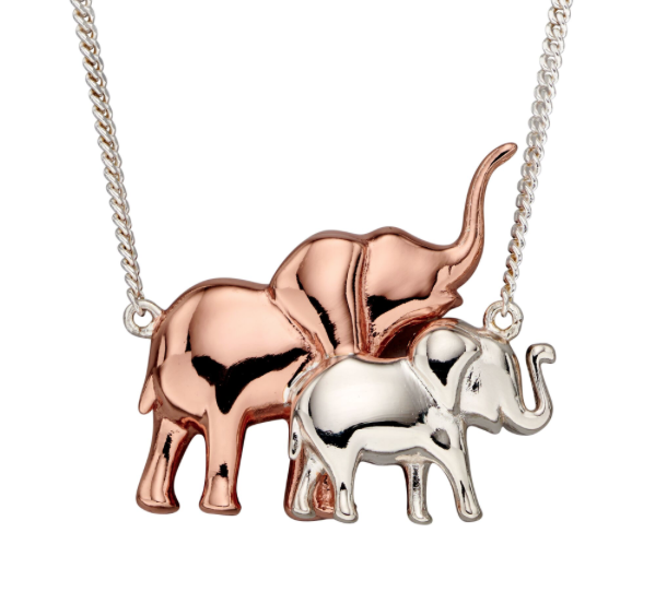 Elements Silver & Rose Gold Mum & Baby Elephant Necklace