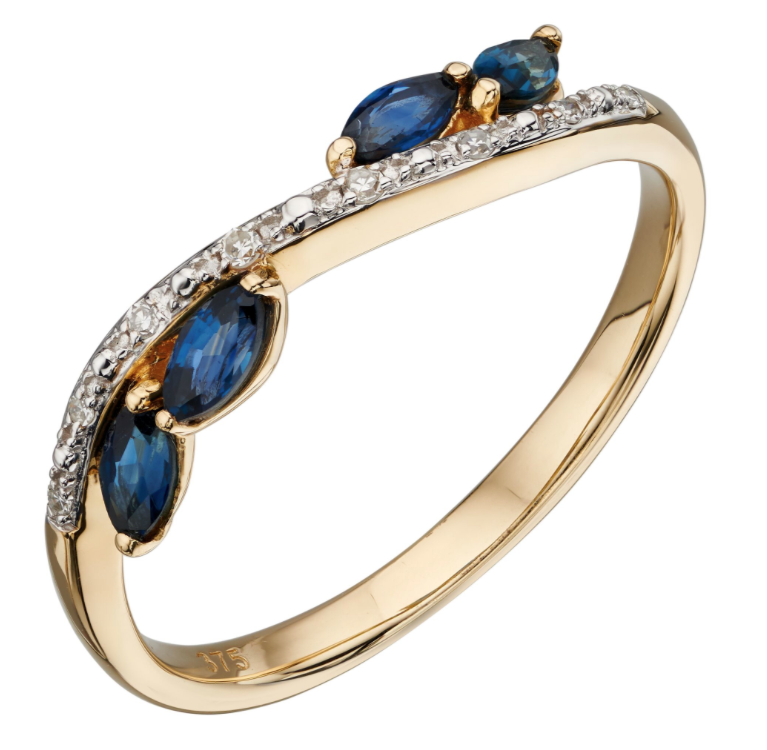 Elements Yellow Gold Blue Sapphire & Diamond Marquise Ring gr562l
