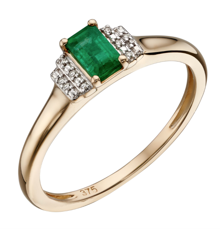Elements Yellow Gold Emerald & Diamond Rectangle Deco Ring gr567g