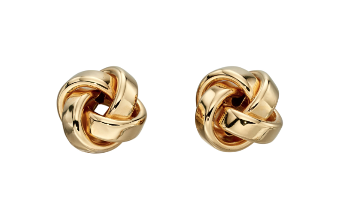 Elements Yellow Gold Twist Knot Stud Earrings ge2201