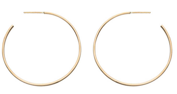 Elements Yellow Gold 30mm Hoop Stud Earrings ge2203