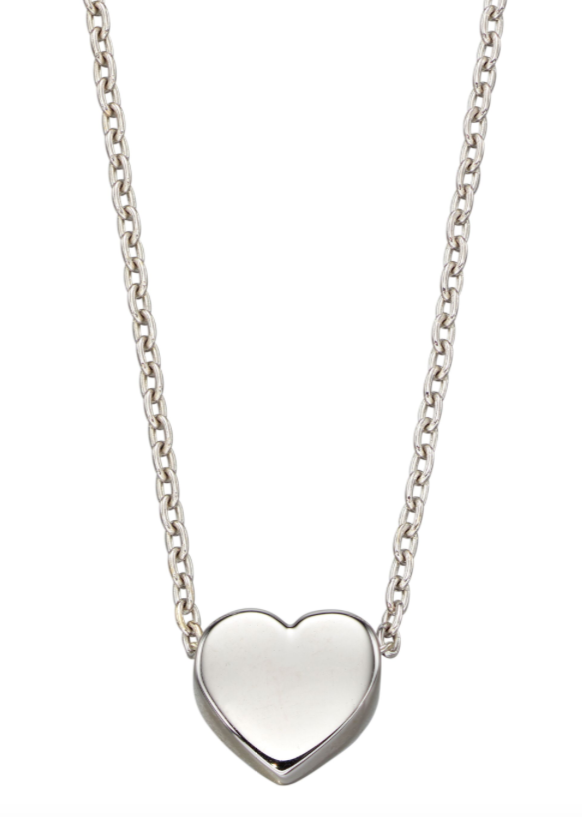 Elements White Gold Plain Heart Necklace