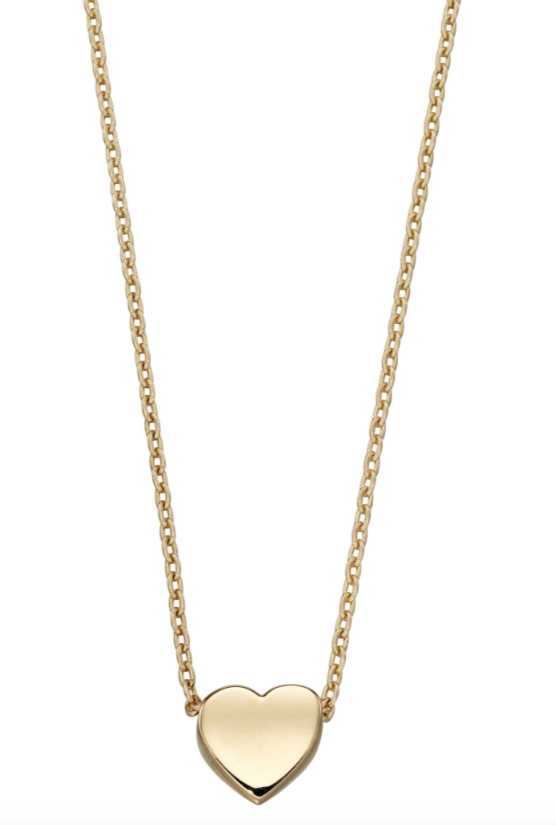 Elements Yellow Gold Plain Heart Necklace gn309