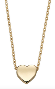 Elements Yellow Gold Plain Heart Necklace