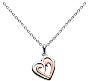 Dew Silver & Rose Gold Double Heart Pendant 9493rg