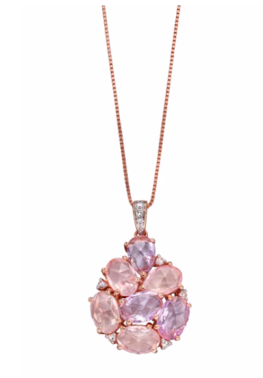 Elements Rose de France & Rose Quartz Cluster Gold Pendant GP2159